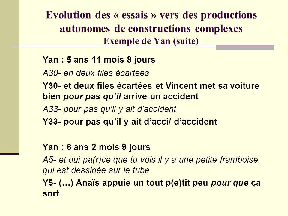 Evolution des « essais » vers des productions autonomes de constructions complexes Exemple de Yan (suite)