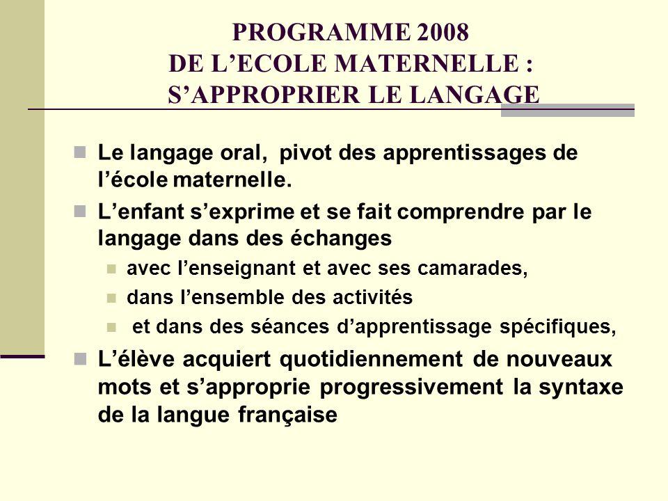 PROGRAMME 2008 DE L'ECOLE MATERNELLE : S'APPROPRIER LE LANGAGE