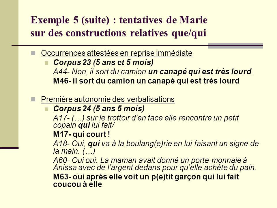 Exemple 5 (suite) : tentatives de Marie sur des constructions relatives que/qui