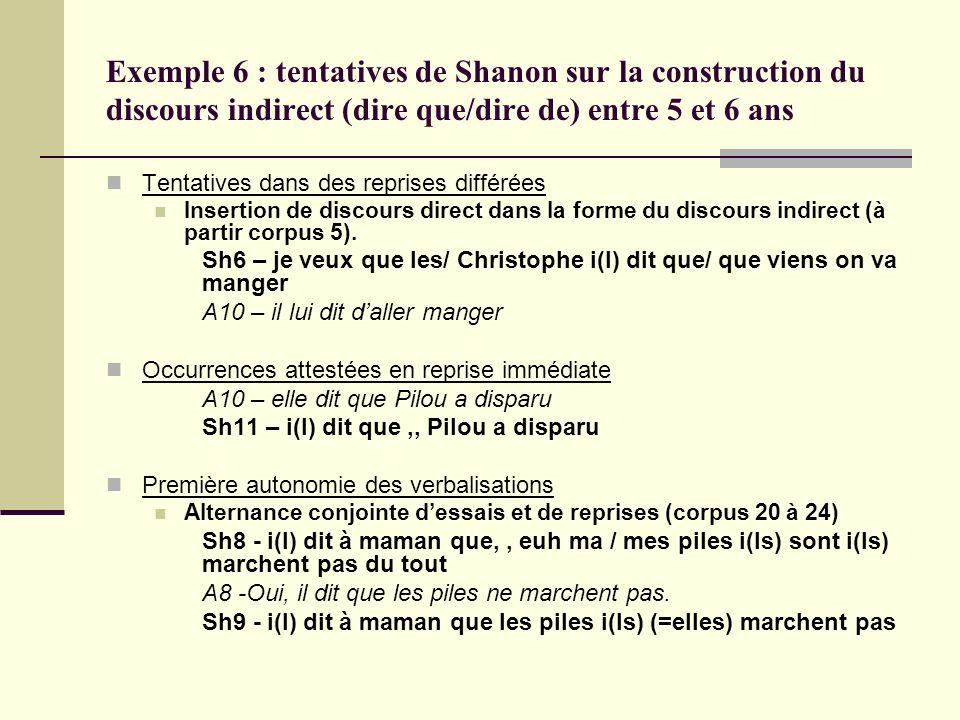 Exemple 6 : tentatives de Shanon sur la construction du discours indirect (dire que/dire de) entre 5 et 6 ans