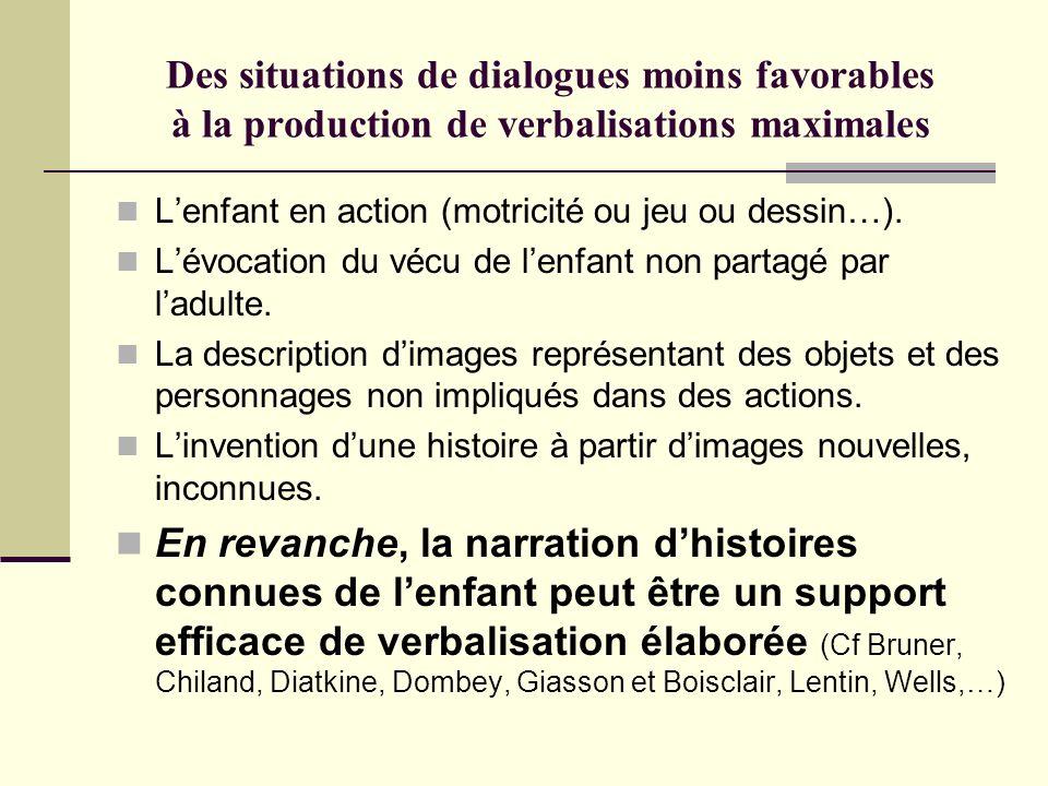 Des situations de dialogues moins favorables à la production de verbalisations maximales