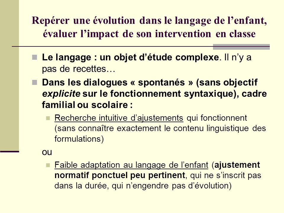 Repérer une évolution dans le langage de l'enfant, évaluer l'impact de son intervention en classe