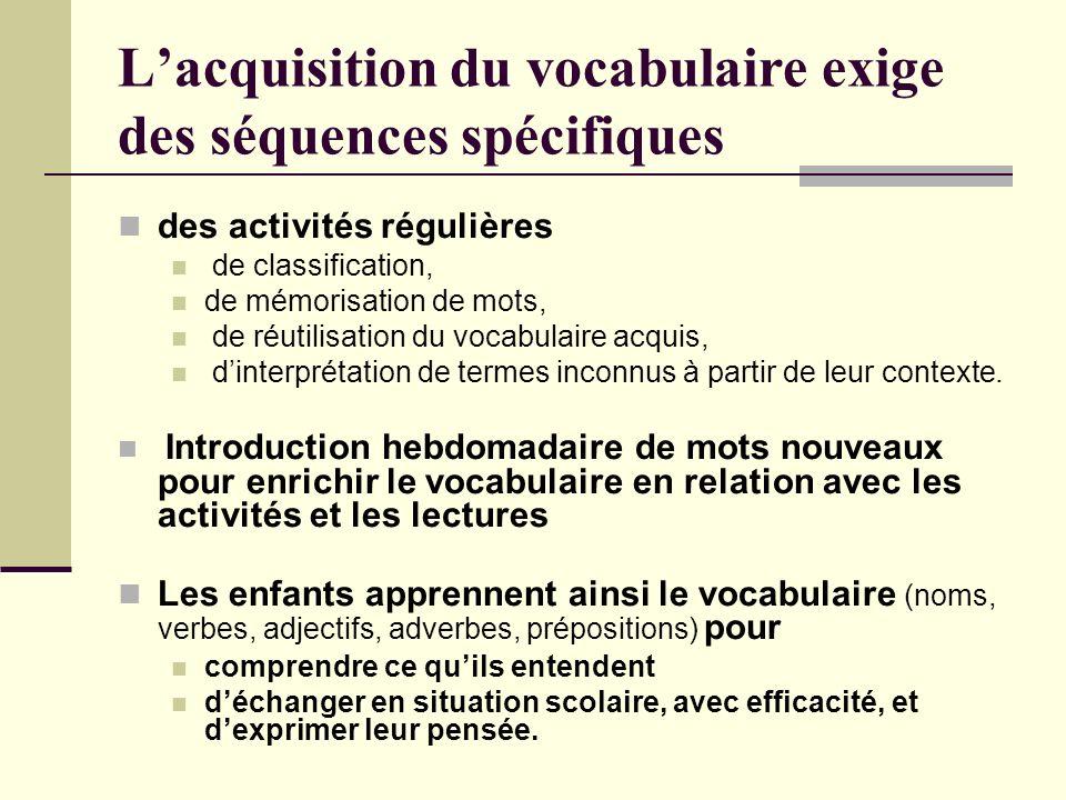 L'acquisition du vocabulaire exige des séquences spécifiques