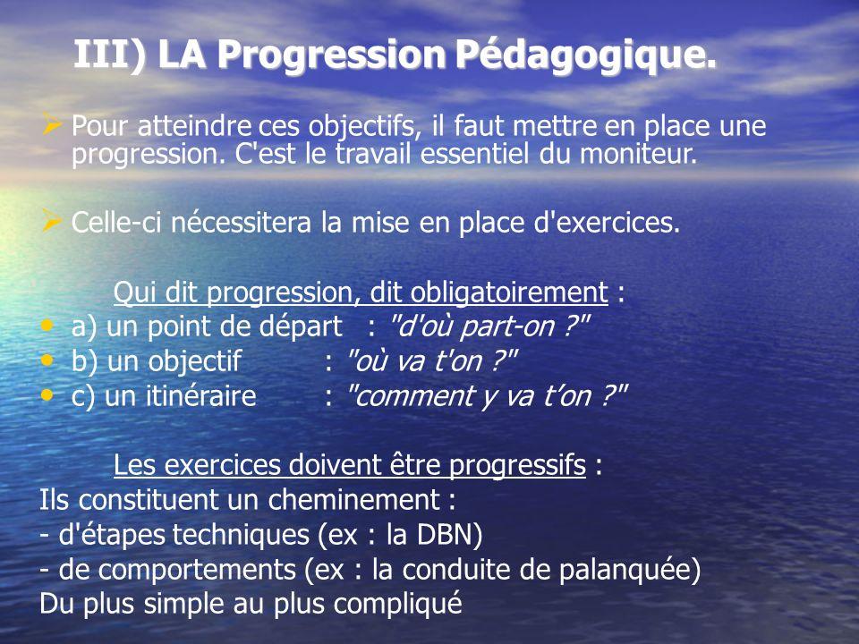 III) LA Progression Pédagogique.