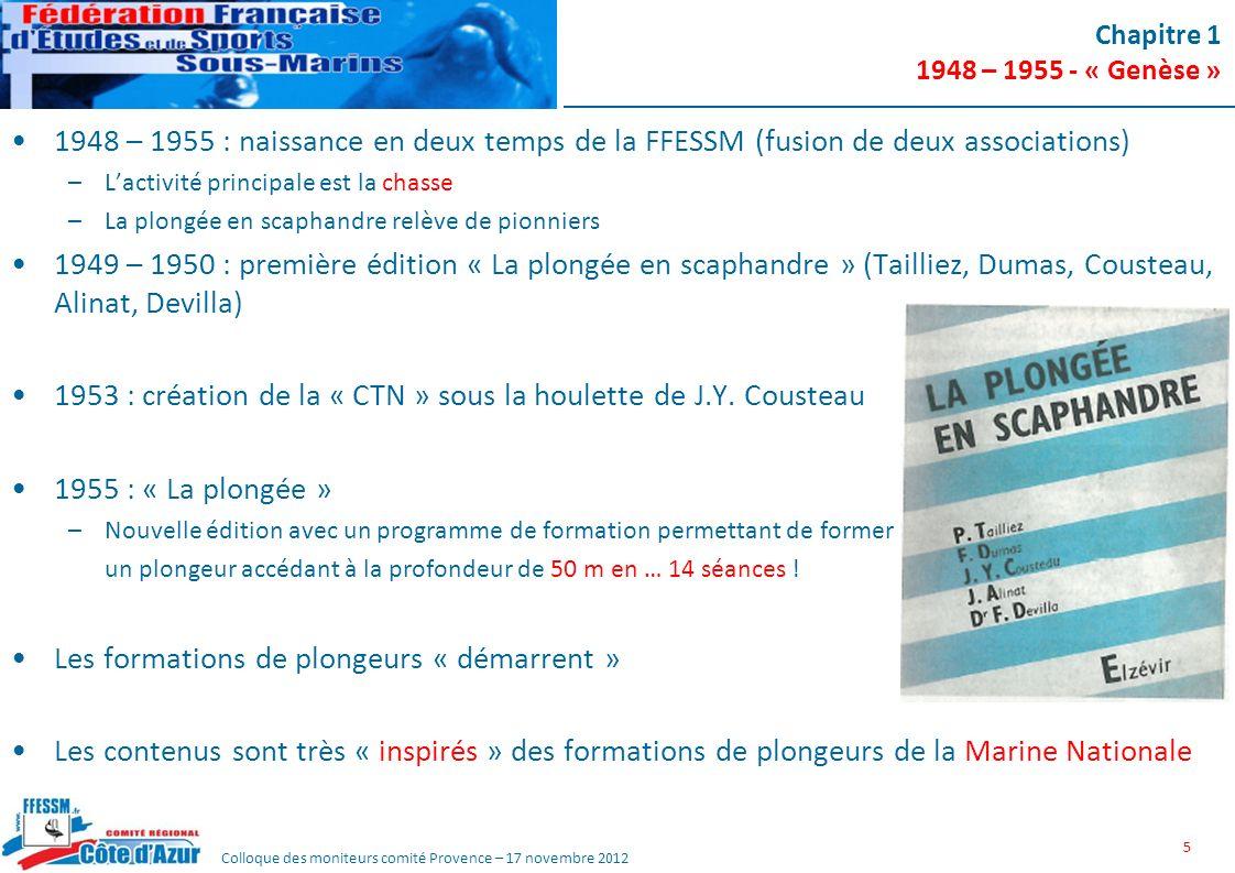 1953 : création de la « CTN » sous la houlette de J.Y. Cousteau