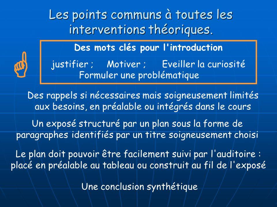 Les points communs à toutes les interventions théoriques.