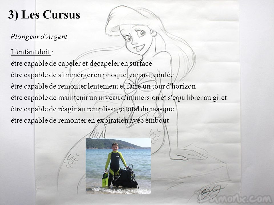 3) Les Cursus Plongeur d Argent L enfant doit :
