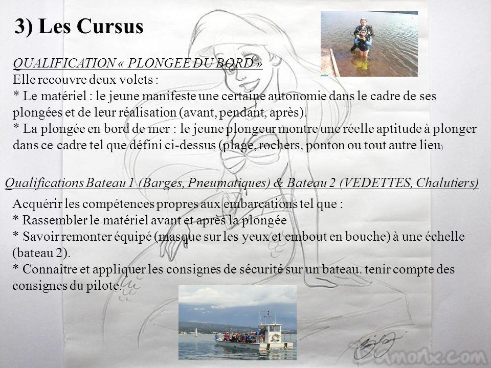 3) Les Cursus QUALIFICATION « PLONGEE DU BORD »