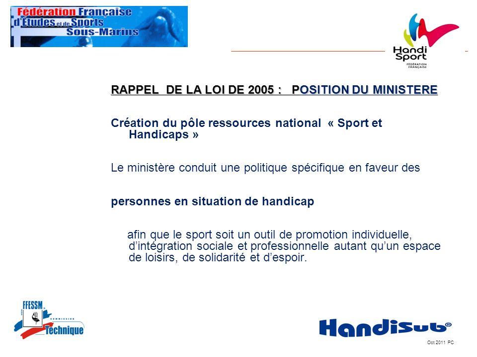 RAPPEL DE LA LOI DE 2005 : POSITION DU MINISTERE