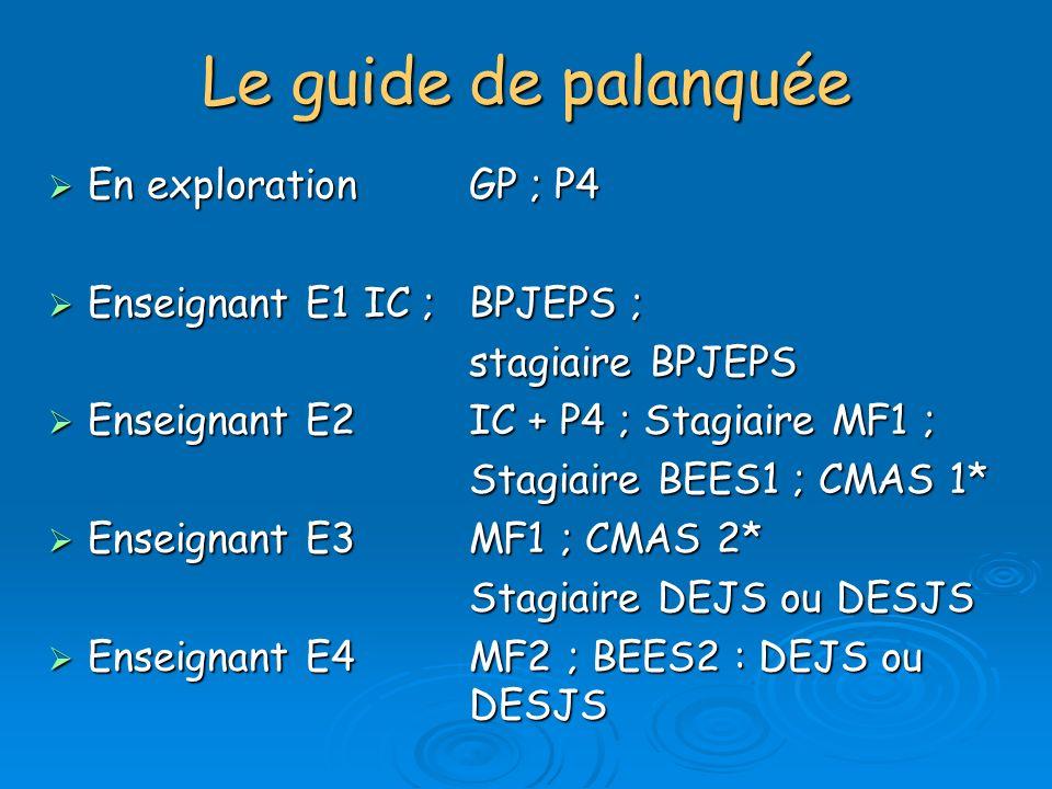 Le guide de palanquée En exploration GP ; P4