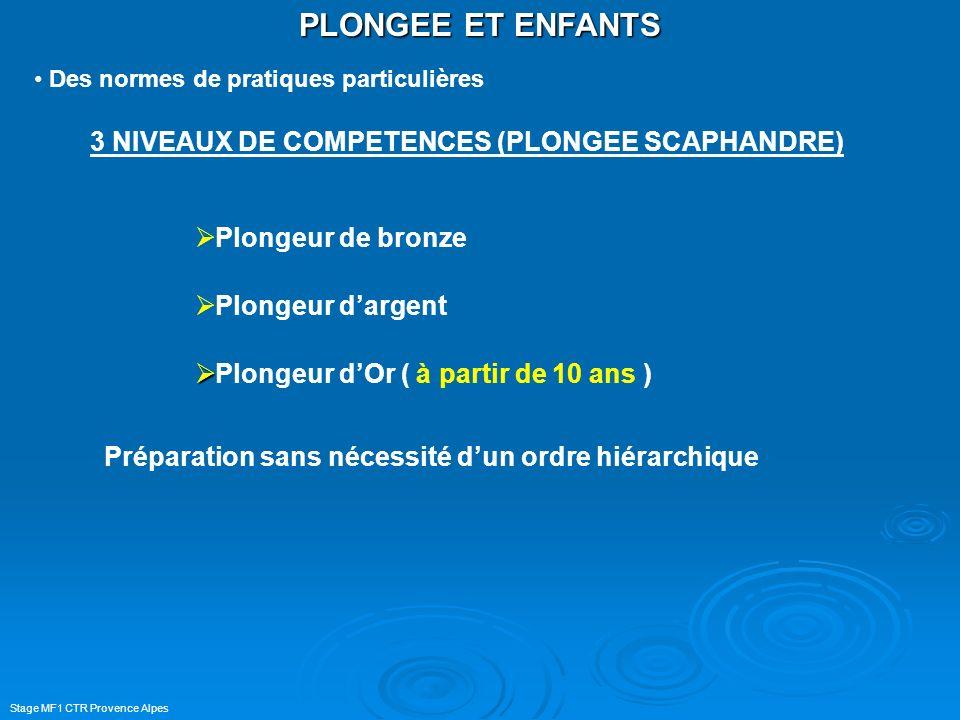PLONGEE ET ENFANTS 3 NIVEAUX DE COMPETENCES (PLONGEE SCAPHANDRE)