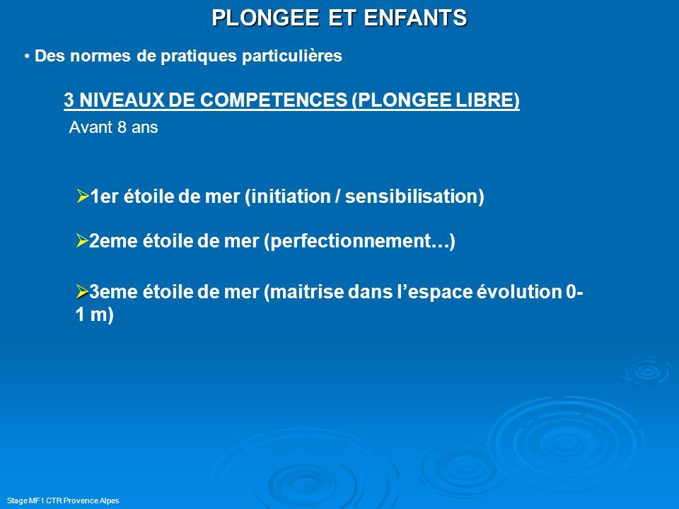 PLONGEE ET ENFANTS 3 NIVEAUX DE COMPETENCES (PLONGEE LIBRE)