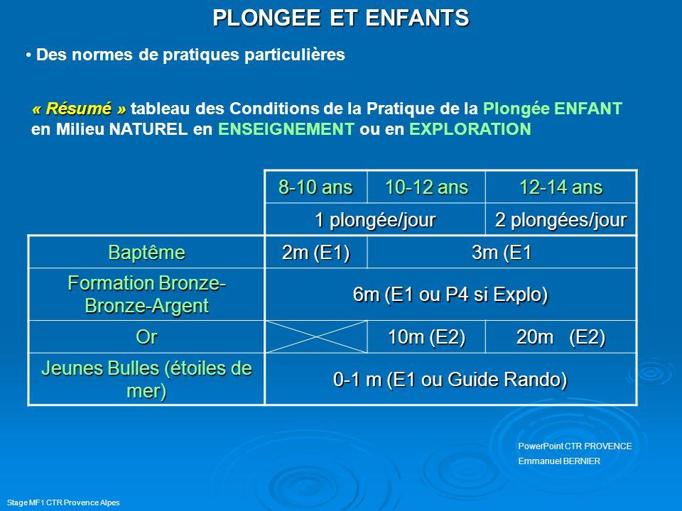 PLONGEE ET ENFANTS 8-10 ans 10-12 ans 12-14 ans 1 plongée/jour