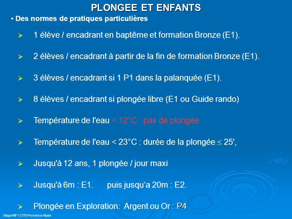 PLONGEE ET ENFANTS Des normes de pratiques particulières. 1 élève / encadrant en baptême et formation Bronze (E1).