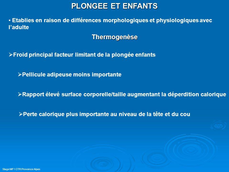 PLONGEE ET ENFANTS Thermogenèse