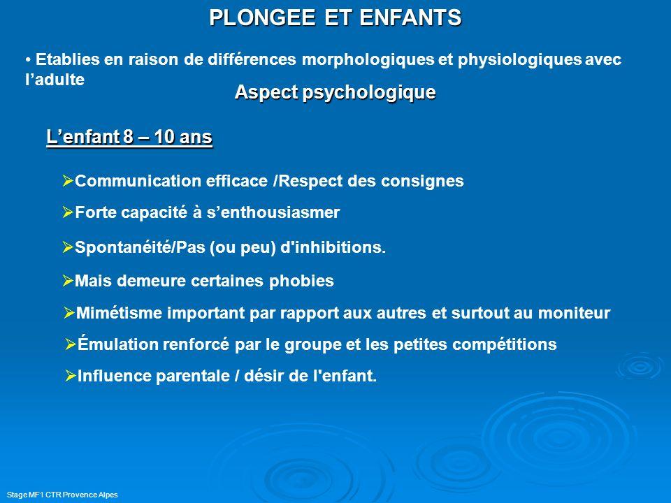 PLONGEE ET ENFANTS Aspect psychologique L'enfant 8 – 10 ans
