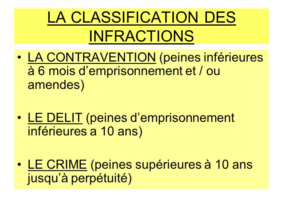 LA CLASSIFICATION DES INFRACTIONS
