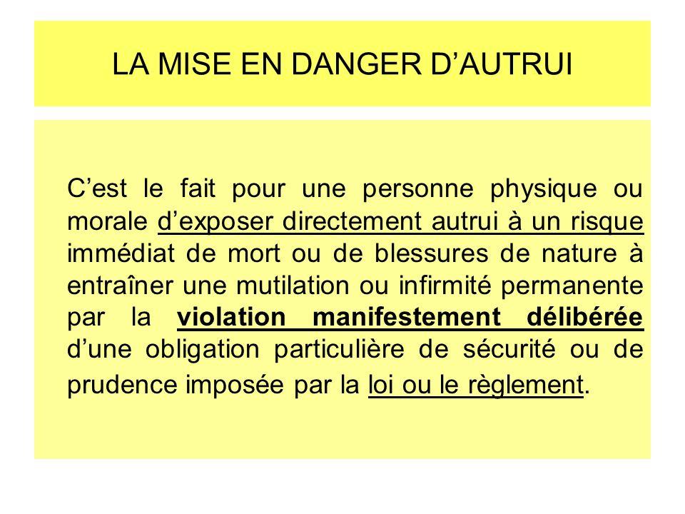 LA MISE EN DANGER D'AUTRUI