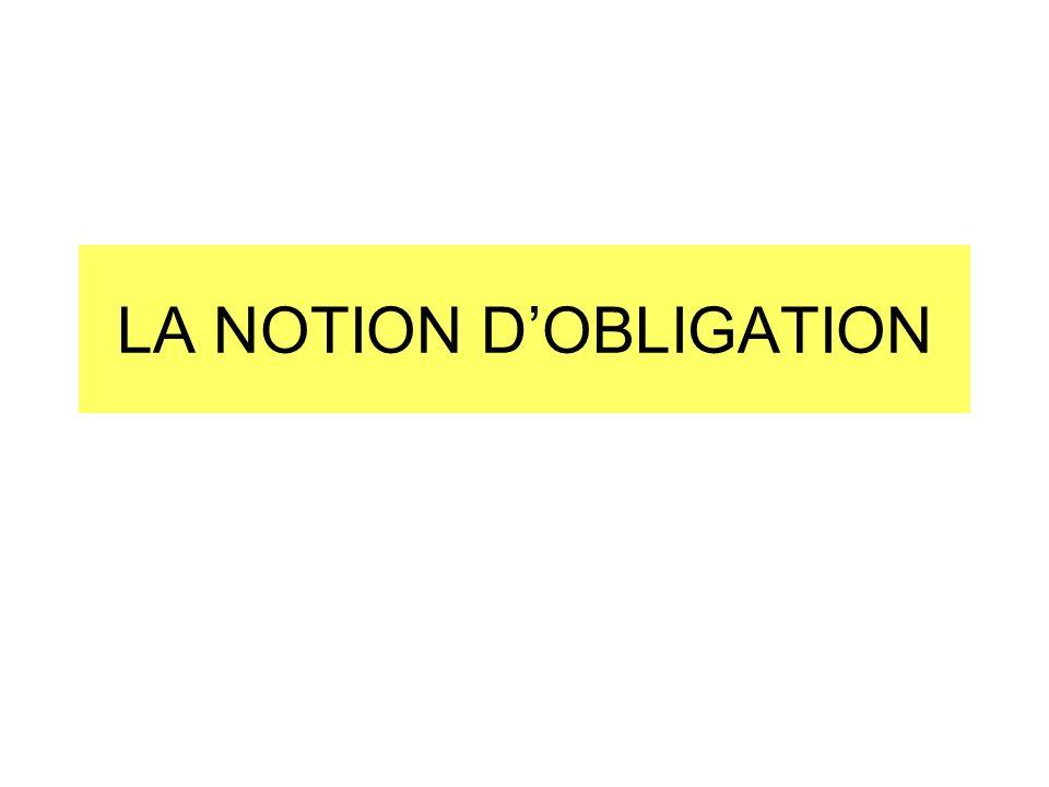 LA NOTION D'OBLIGATION
