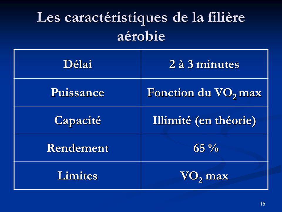 Les caractéristiques de la filière aérobie