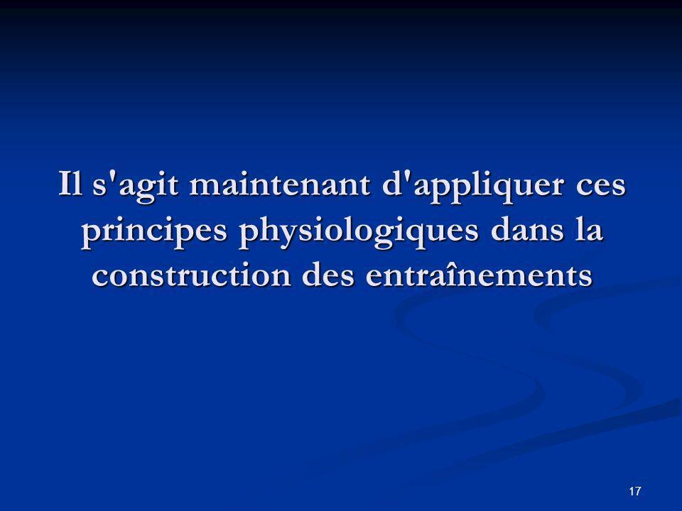 Il s agit maintenant d appliquer ces principes physiologiques dans la construction des entraînements