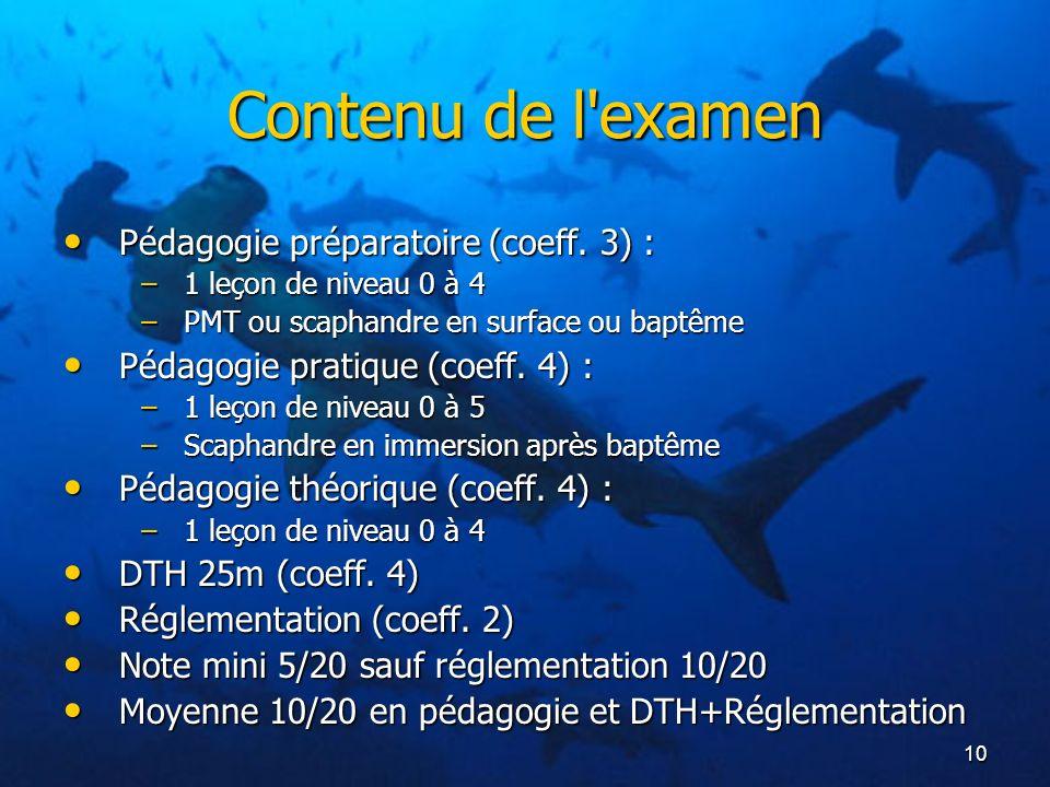 Contenu de l examen Pédagogie préparatoire (coeff. 3) :