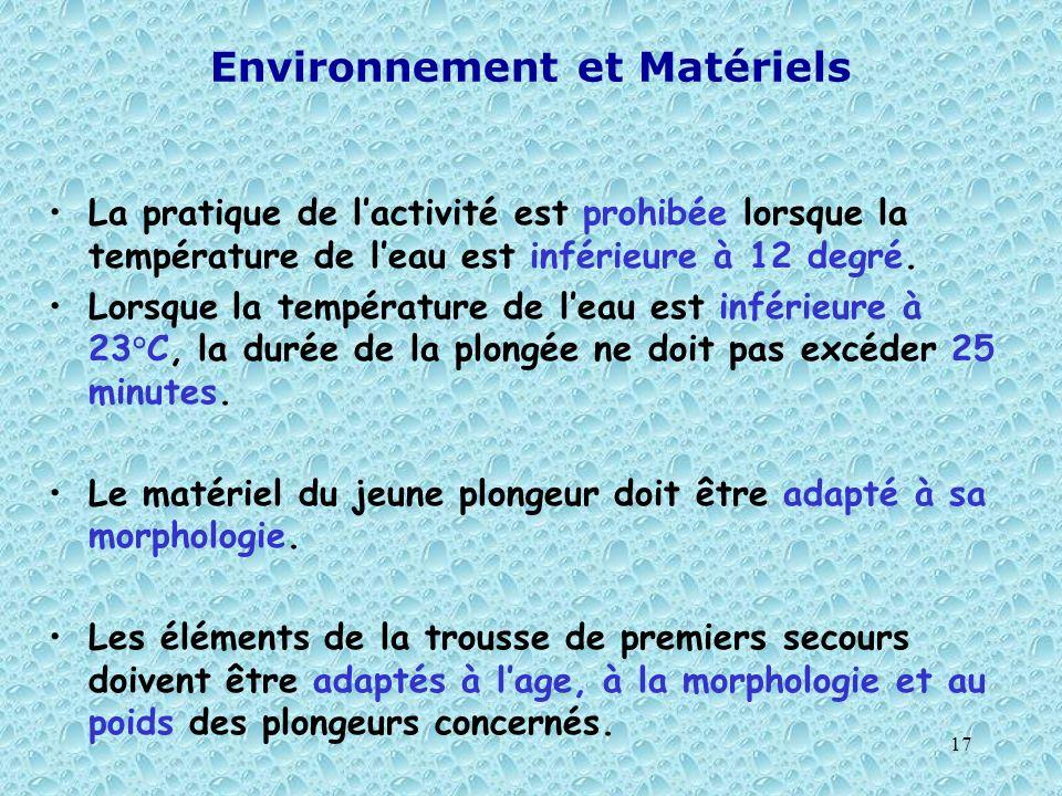 Environnement et Matériels