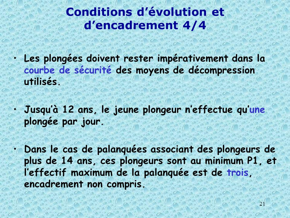 Conditions d'évolution et d'encadrement 4/4