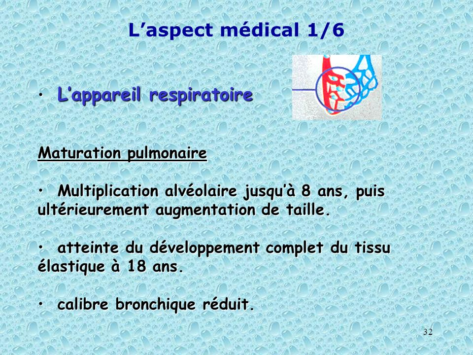 L'aspect médical 1/6 L'appareil respiratoire Maturation pulmonaire