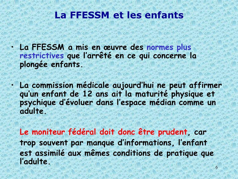 La FFESSM et les enfants
