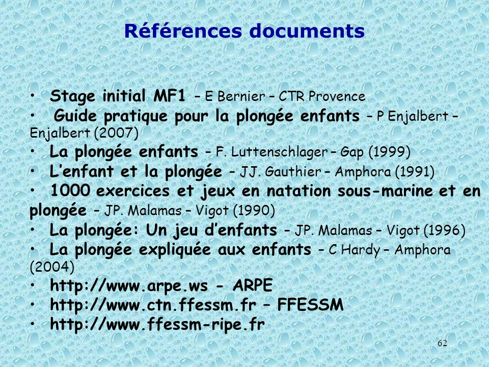Références documents Stage initial MF1 – E Bernier – CTR Provence