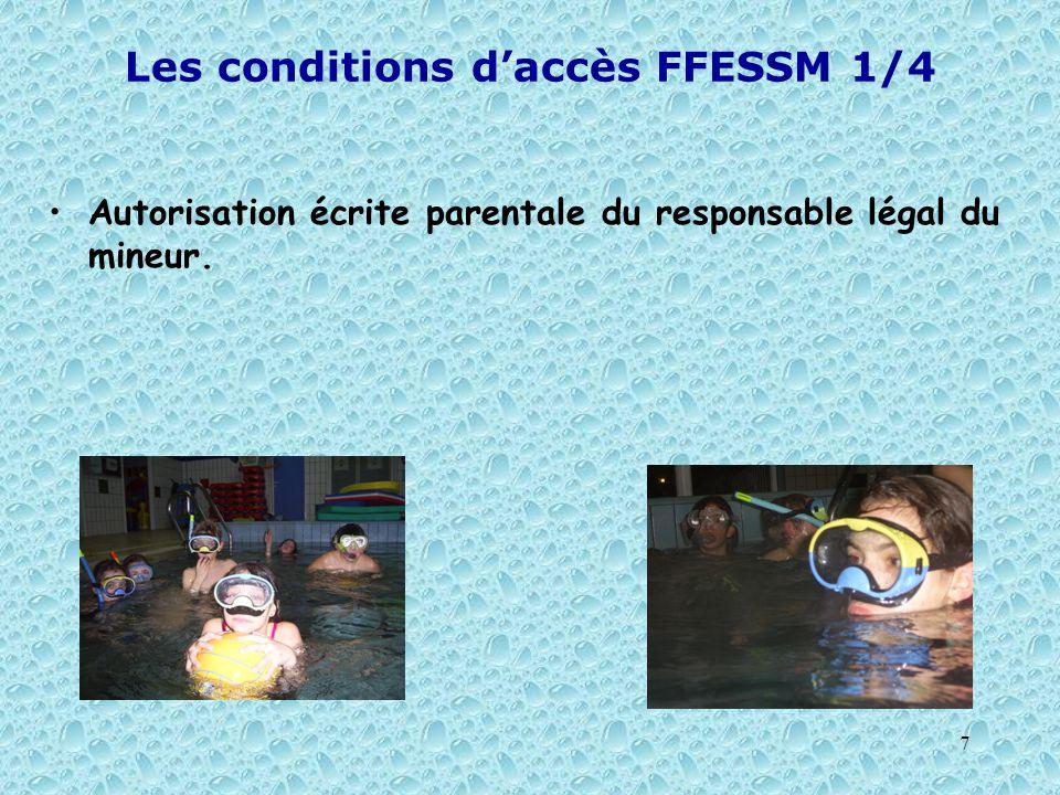 Les conditions d'accès FFESSM 1/4