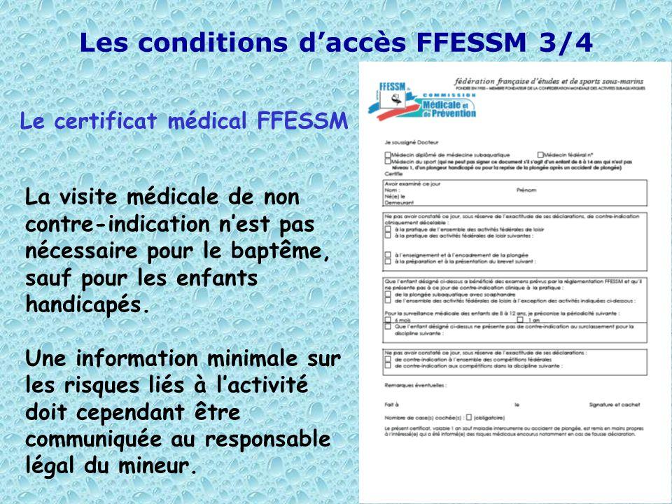 Les conditions d'accès FFESSM 3/4