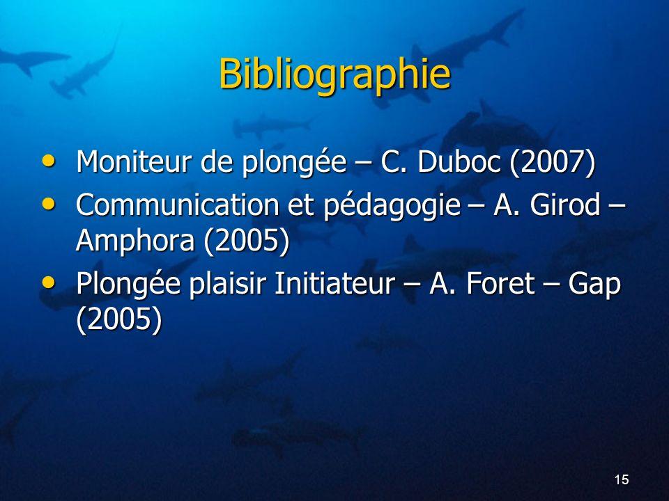 Bibliographie Moniteur de plongée – C. Duboc (2007)