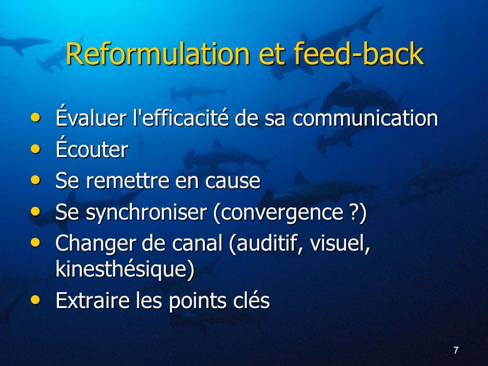 Reformulation et feed-back
