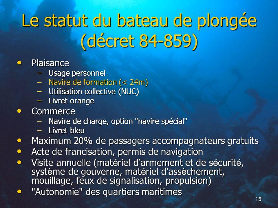 Le statut du bateau de plongée (décret 84-859)