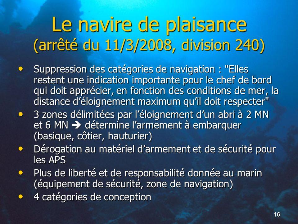 Le navire de plaisance (arrêté du 11/3/2008, division 240)
