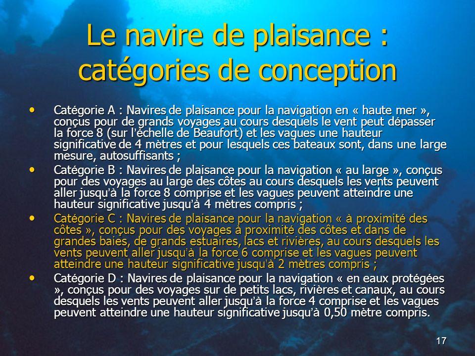 Le navire de plaisance : catégories de conception