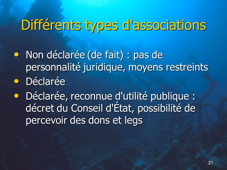 Différents types d associations