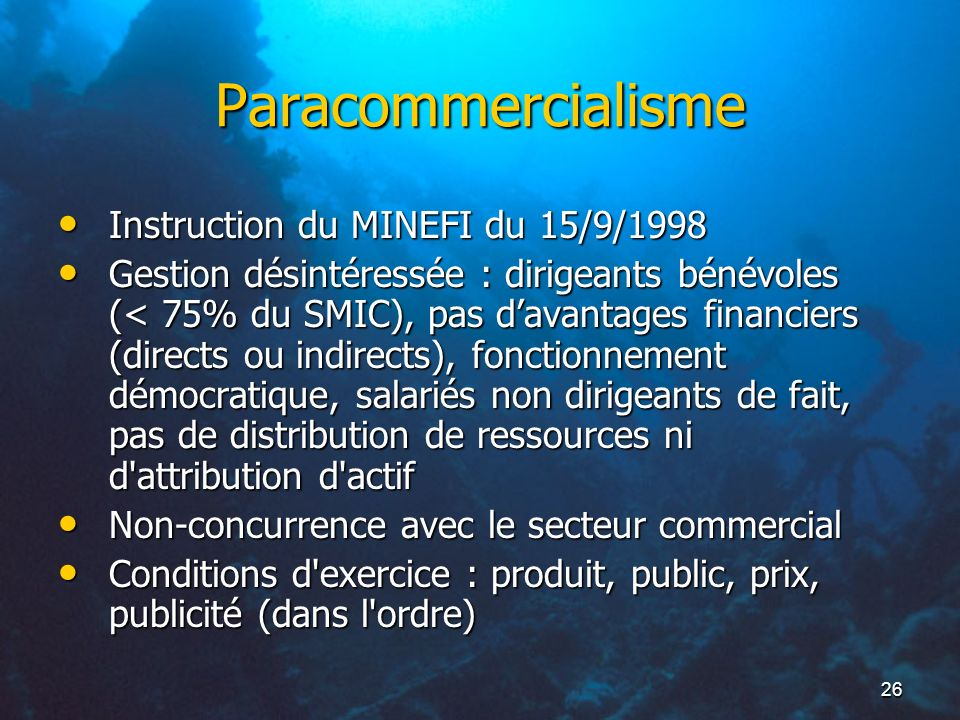 Paracommercialisme Instruction du MINEFI du 15/9/1998