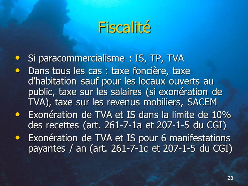 Fiscalité Si paracommercialisme : IS, TP, TVA