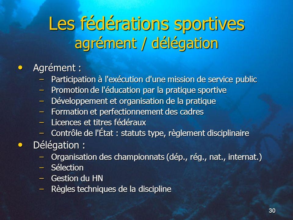 Les fédérations sportives agrément / délégation