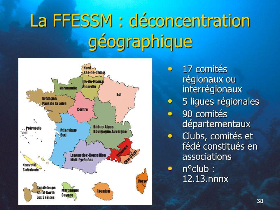 La FFESSM : déconcentration géographique