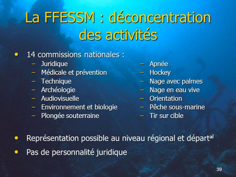 La FFESSM : déconcentration des activités