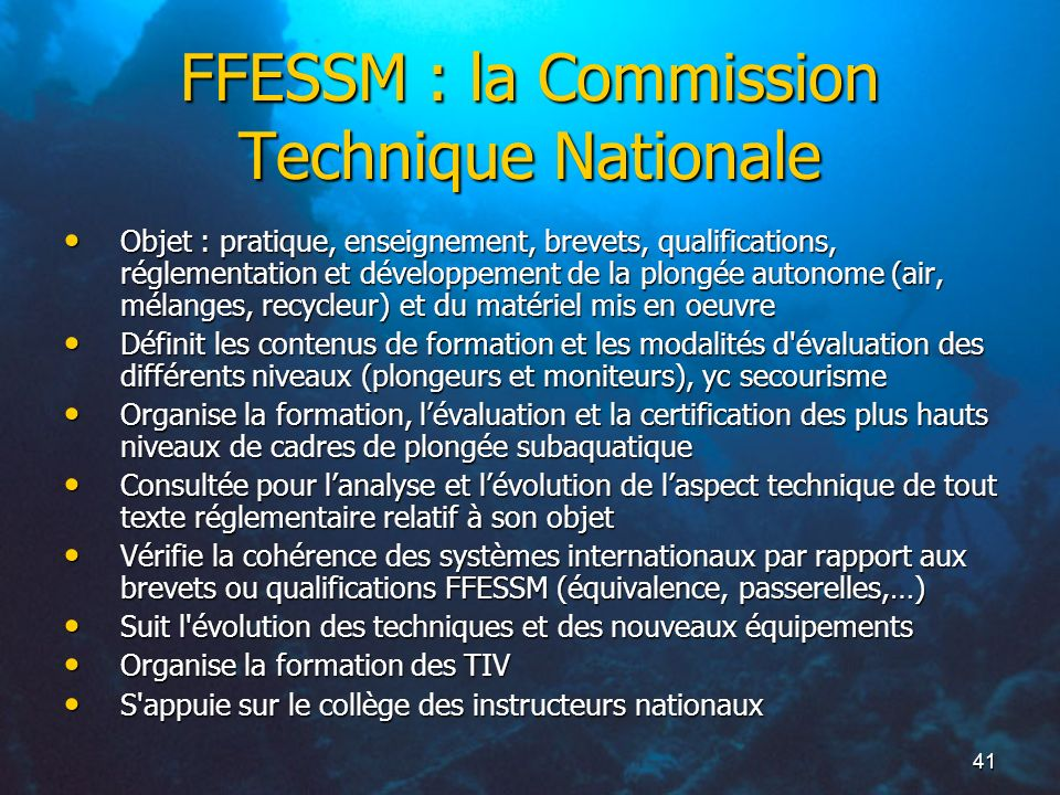 FFESSM : la Commission Technique Nationale