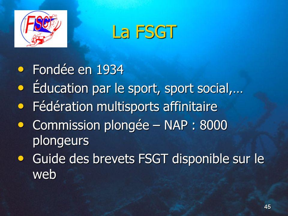 La FSGT Fondée en 1934 Éducation par le sport, sport social,…