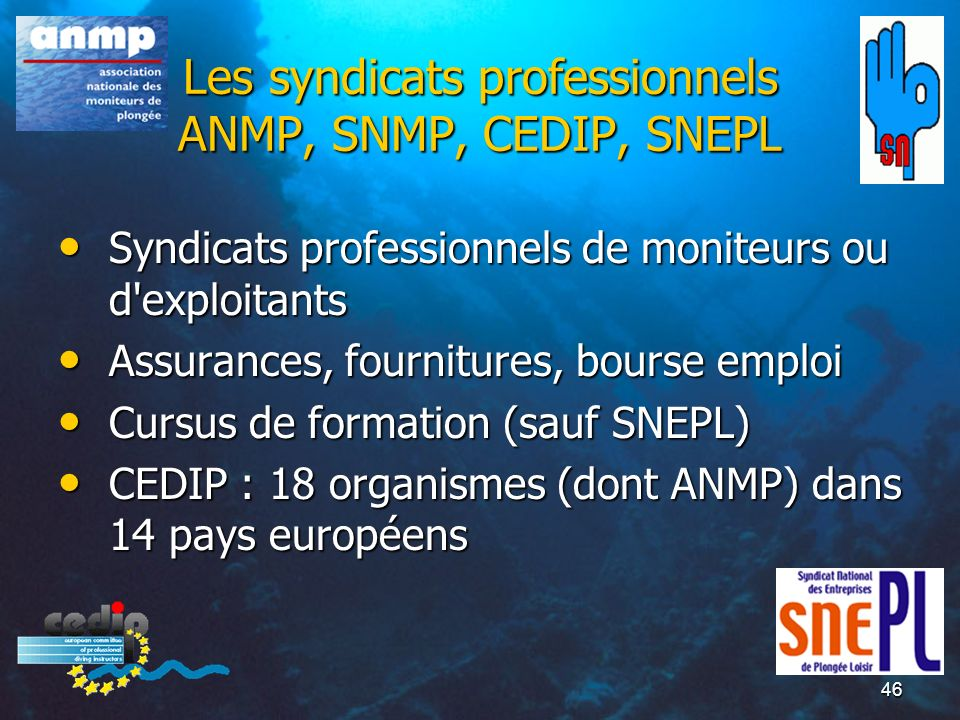 Les syndicats professionnels ANMP, SNMP, CEDIP, SNEPL