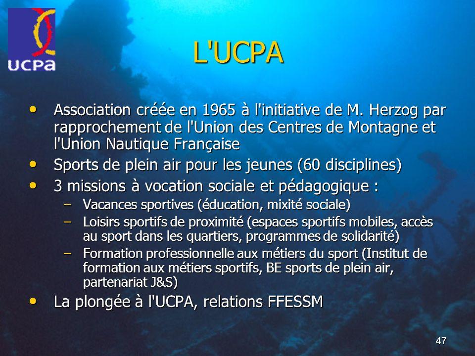 L UCPA Association créée en 1965 à l initiative de M. Herzog par rapprochement de l Union des Centres de Montagne et l Union Nautique Française.