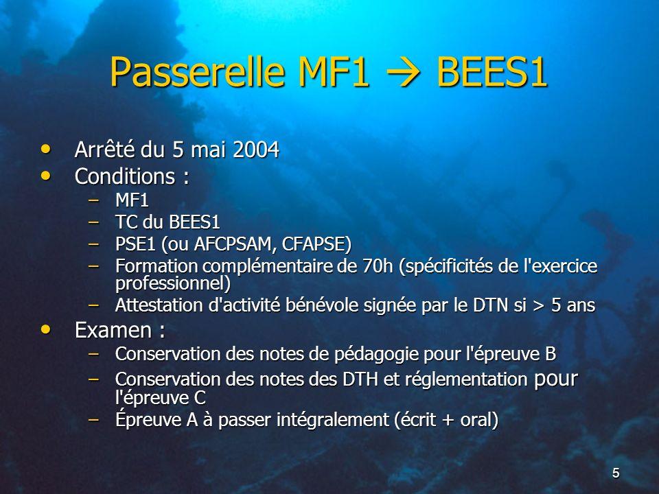 Passerelle MF1  BEES1 Arrêté du 5 mai 2004 Conditions : Examen : MF1