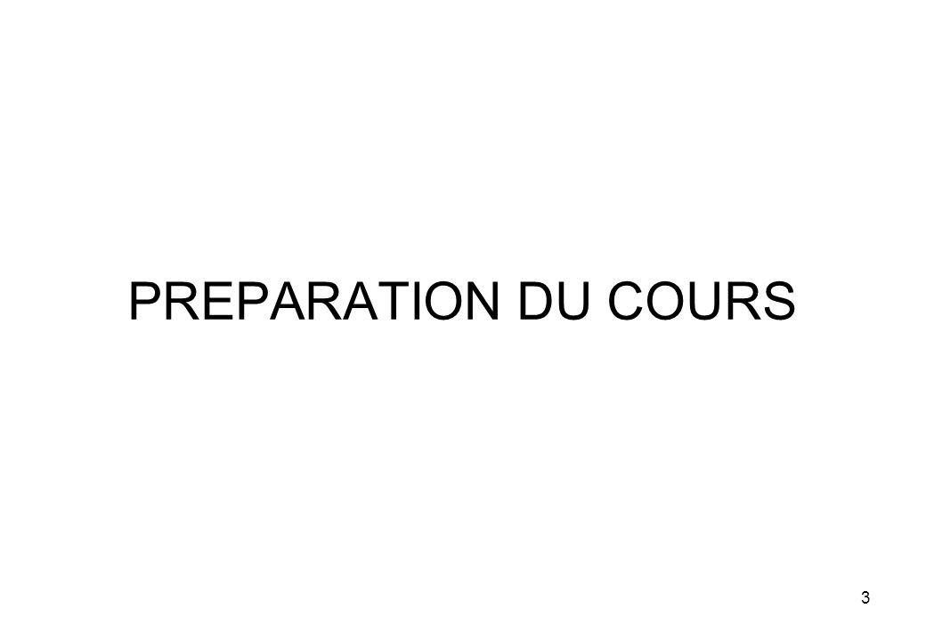 PREPARATION DU COURS